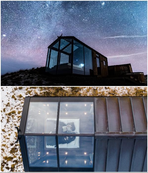 Стеклянная крыша позволяет любоваться фантастической красоты звездным небом. | Фото: mymodernmet.com.