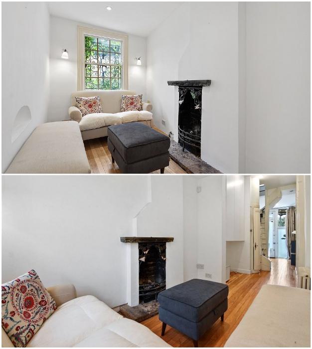 В очаровательной гостиной есть не только уютные диваны, но и действующий камин («The thinnest house», Лондон).   Фото: es.finance.yahoo.com/ mylondon.news.