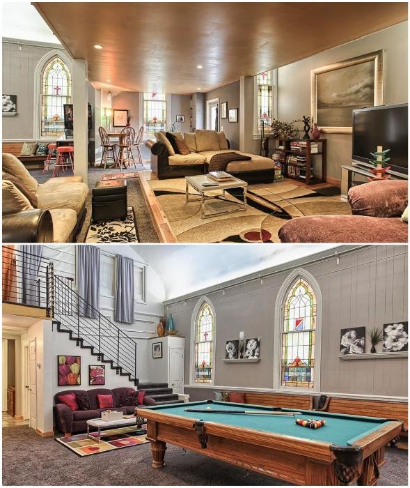 Основной зал для проведения литургий превратился в многофункциональную гостиную («Часовня мира», Гаррисберг).