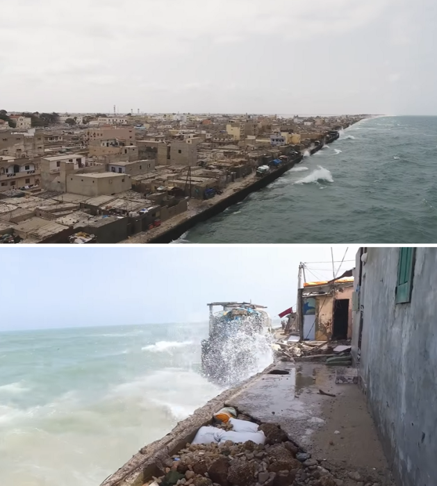 В таких условиях живут тысячи жителей города (Saint Louis, Сенегал). | Фото: youtube.com/ © World Bank.