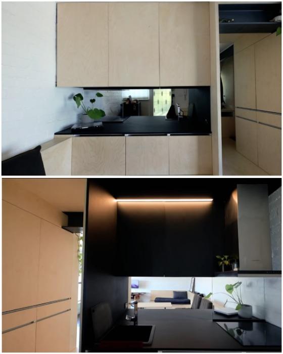 Сквозное окно в модуле визуально увеличивает пространство кухни. | Фото: youtube.com.