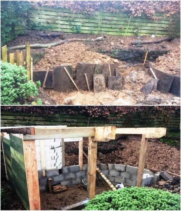Во время строительства Крису пришлось убрать не одну тонну почвы, чтобы получилась полноценная нора хоббита. | Фото: shedblog.co.uk.