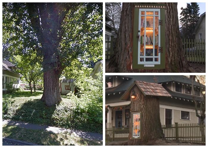 При желании даже старое дерево может продолжать служить людям (Little Free Library, Кер-д'Ален).