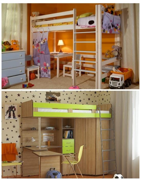 Двухуровневая мебельная стенка поможет зонировать пространство в детской. | Фото: dobramebel.wordpress.com.