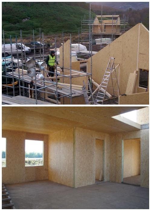 Сначала установили SIP панели, которые стали каркасом и послужили утеплением объекта (Lochside House, Великобритания).