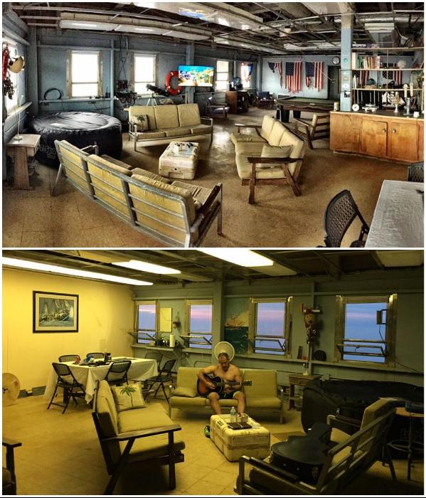 Комната отдыха для гостей сохраняет армейский колорит («The Frying Pan Tower», США). | Фото: facebook.com/ © Frying Pan Tower.