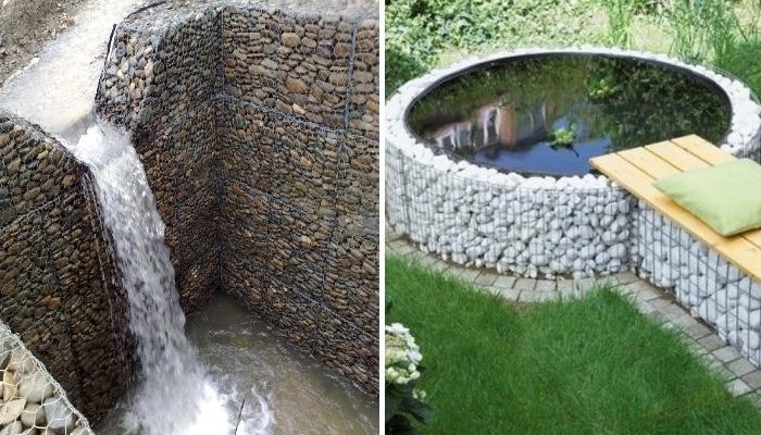 С помощью габионов на своем участке можно создавать водоемы различной конфигурации и высоты. | Фото: designerdreamhomes.ru.