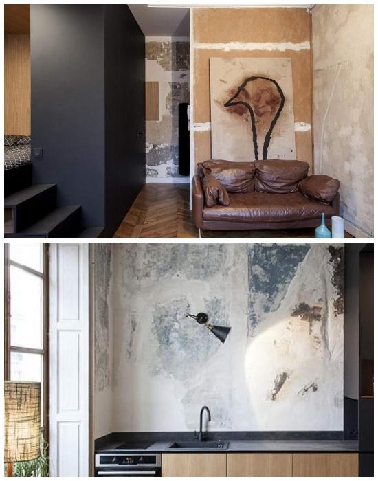 Оригинальные потертости и ждущие ремонта стены стали основным направлением в дизайне всей квартиры.