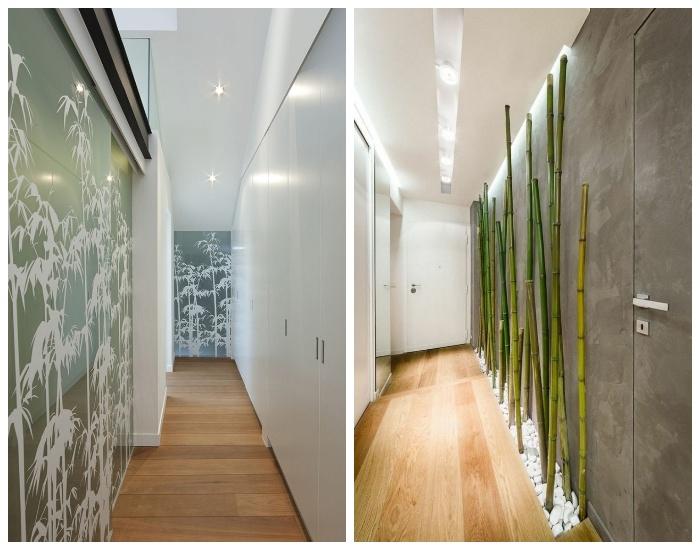 Фрагментарное использование неординарных рисунков или предметов для создания акцентной стены в узком коридоре. | Фото: pinterest.com