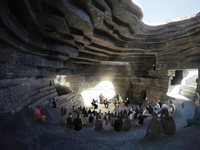 Концертный зал будет иметь открытую сцену и полуоткрытый амфитеатр (визуализация «Chapel of Sound», Китай). | Фото: visualatelier8.com.
