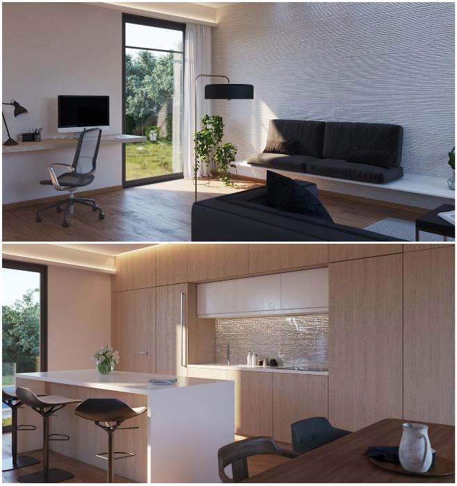 Интерьер гостиной-столовой в тех моделях, которые имеют обособленную спальню (San Ramon, Калифорния). | Фото: dailymail.co.uk/ © Mighty Building.