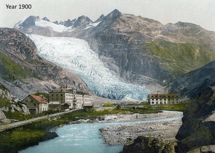 Вначале прошлого века фартук ледника был длиннее на 1300 метров (Альпы, Швейцария).