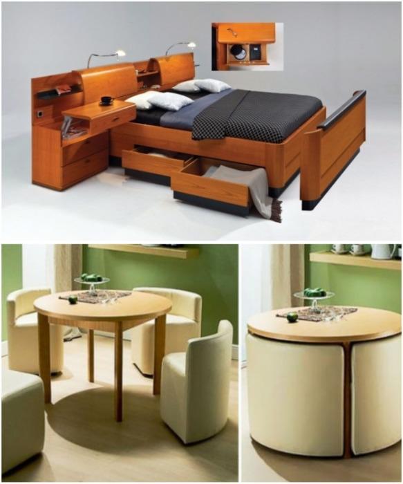 Многофункциональная мебель – идеальный вариант для малогабаритных квартир. | Фото: takprosto.cc.