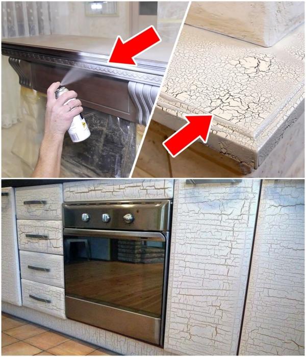 Кракелюры на отреставрированной мебели можно создать собственными руками. | Фото: youtube.com/ pinterest.com.