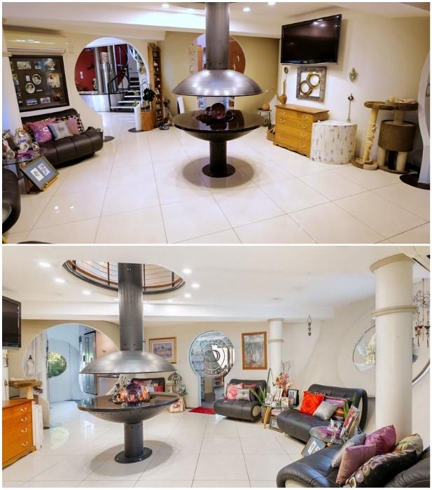 Оригинальный камин посреди гостиной отапливает сразу все комнаты на трех уровнях («Bubble House», Австралия). | Фото: newatlas.com/ youtube.com, © First National Real Estate.