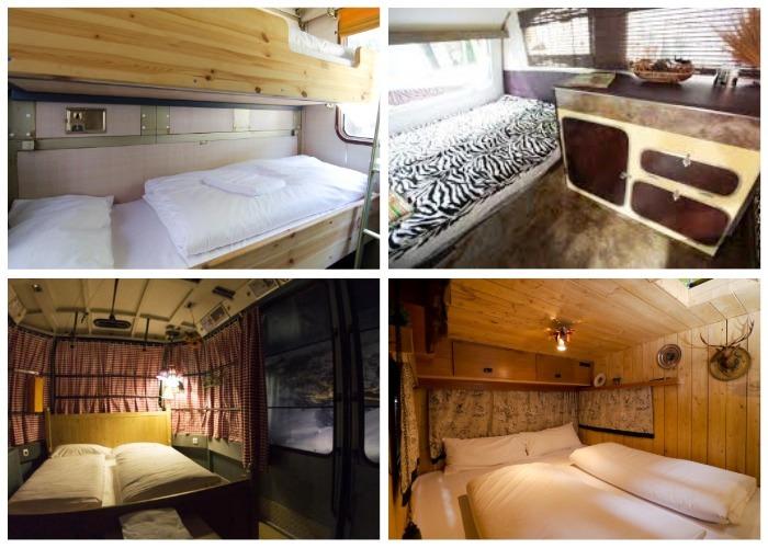 Интерьер мини-домиков из автомобильных трейлеров (Base Camp Young Hostel).