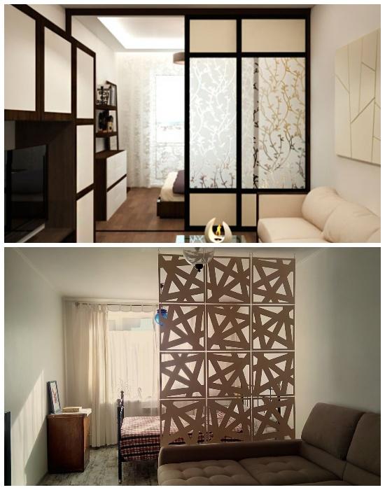 Зонирование комнаты с помощью выдвижных или складывающихся перегородок.