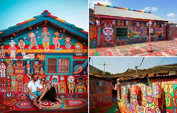 Необычные узоры украшают каждую постройку и дорожку вымирающего поселка военных поселенцев (Rainbow Village, Тайвань).