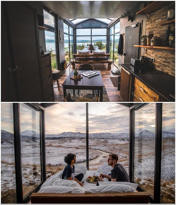 Романтический завтрак или ужин можно организовать и за столом, и в кровати. | Фото: panoramaglasslodge.com.