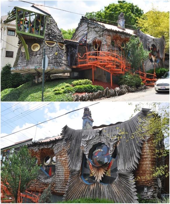 Грибной Дом основан на интересе Брауна к органической архитектуре и роли природы в японском, коренном американском и других неевропейских видах искусства (The Mushroom House, США). | Фото: roadarch.com.