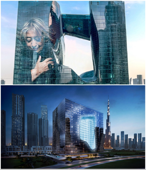 Благодаря светодиодным лампам фасад могут украшать и трогательные образы, и подсветка «дыры» здания («The Opus», Дубай). | Фото: dxboffplan.com/ publicinsta.com.