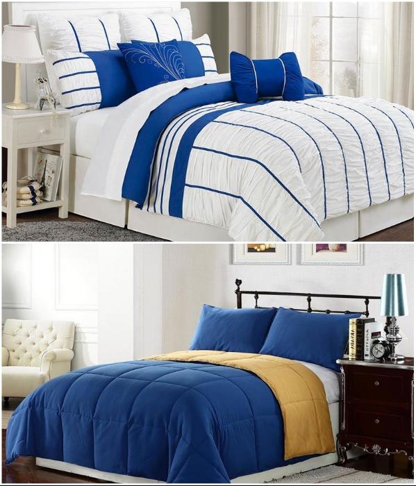 В спальне синий цвет лучше использовать в качестве акцента. | Фото: best-stroy.ru.