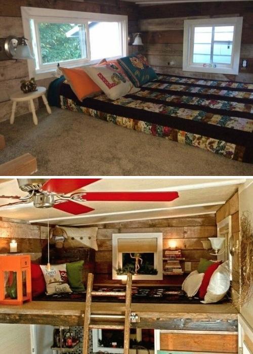 На втором ярусе организовала спальню и зону отдыха (My Empty Nest»).   Фото: new.neveroyatno.website.