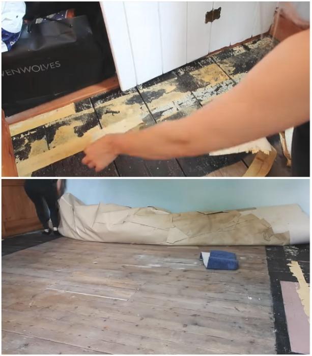 Напольное покрытие нужно было убрать, чтобы начать делать ремонт. | Фото: instagram.com/leannelimwalkerhome.