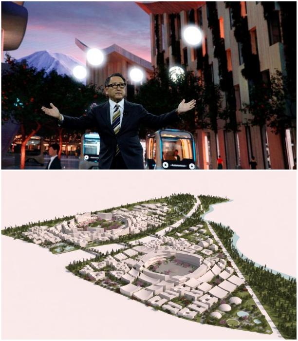 Акио Тойода на технологической выставке CES в Лас-Вегасе представил концепт «Woven City». | Фото: kerkyranews.gr/ youtube.com, © CNET Highlights.
