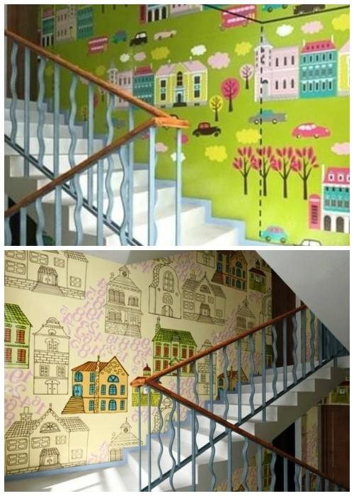 Красочный мультяшный город создали самые маленькие жители подъезда.