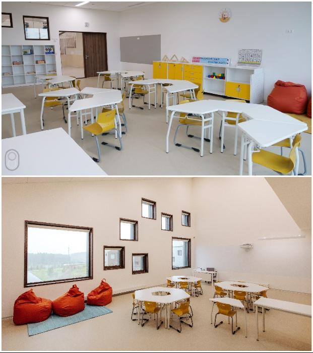 Классы в новой школе совсем не похожи на традиционные учебные кабинеты («Точка будущего», Иркутск).