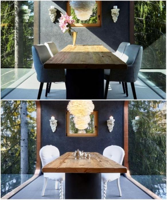 Изысканная столовая с прозрачными стенами станет идеальным местом и для романтического ужина, и для дружеской вечеринки (курорт La Villa, Mi Chalet). | Фото: homeadore.com/ © Luca Visciani.