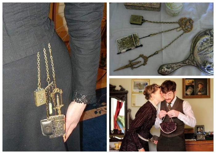 Винтажный шатлен или милая дамская сумочка всегда украшают талию Сары.