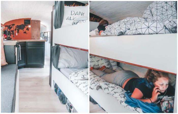 Для детей оборудовали двухъярусную кровать (Oliver). | Фото: instagram.com/ sincewewokeup.