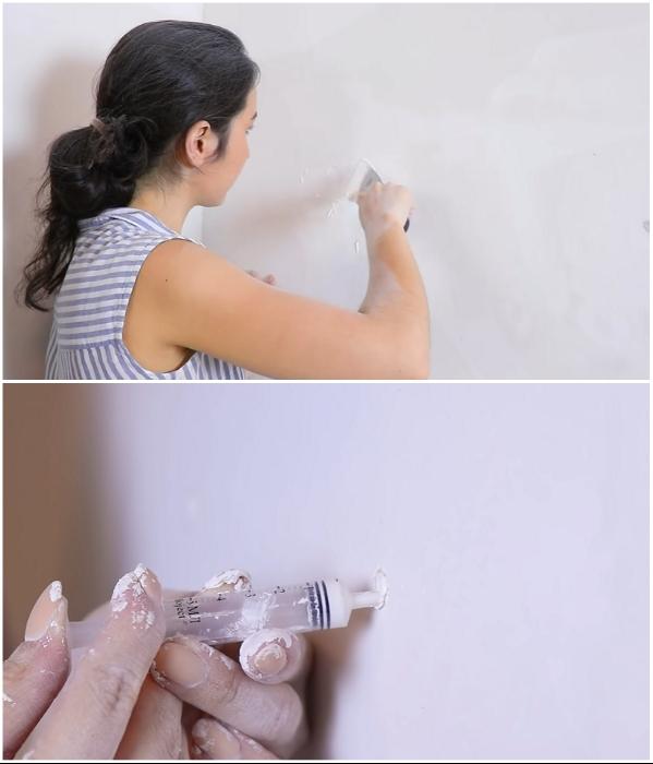 Все дырки, отслойки и трещины нужно зашпаклевать. | Фото: youtube.com/ © Fancy smth.