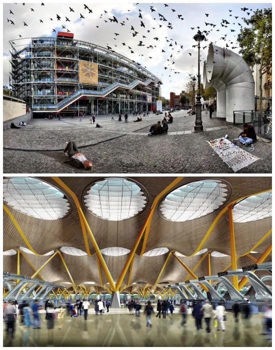 4-й Терминал мадридского аэропорта Барахас (Madrid Barajas Airport) и Центр Помпиду в Париже (Centre Pompidou) в Париже. | Фото: royaldesign.ua.