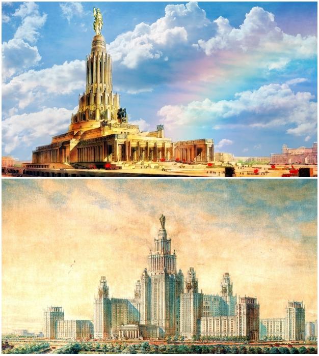 Поиски форм и наполнения от советского архитектора Бориса Иофана в создании Дворца Советов СССР.