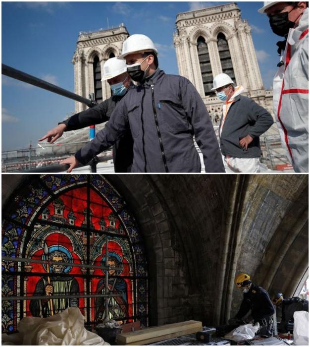 Президент Франции активно интересуется продвижением восстановительных работ главного храма страны.