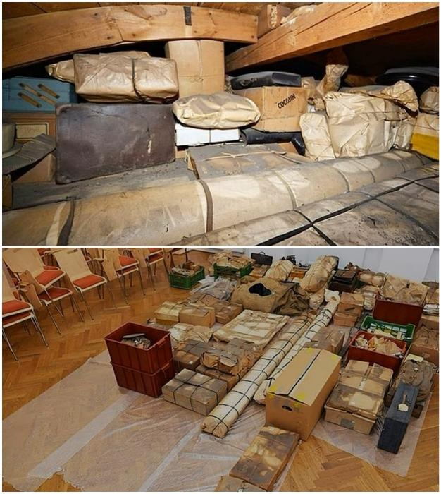 В укромном месте оказалось 70 различных свертков и коробок с вещами семьи Шлаттнеров. © Posnavatel TV.