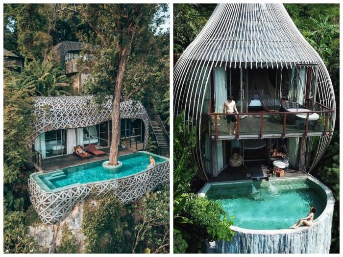 Необычные номера-коконы, парящие над долиной – отличительная черта отеля Keemala (Таиланд). | Фото: omegashop.com.ua/ pinterest.com.