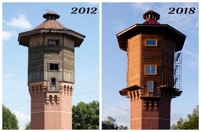 Так изменился фасад старинной башни за шесть лет.