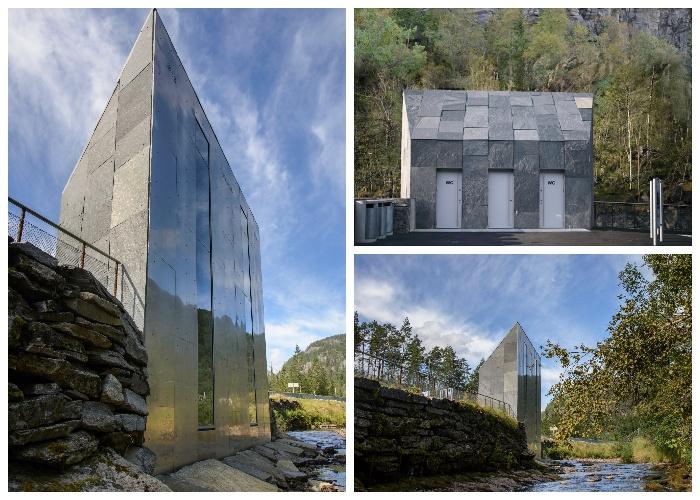 Общественное помещение, имеющее два туалета и специальную бытовую комнату на водопаде в районе Гранвин (проект Fortunen, Норвегия).