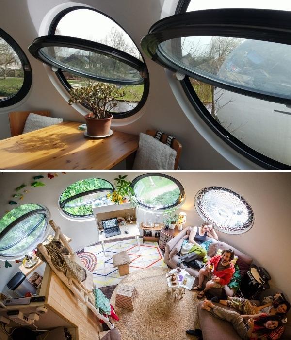 Благодаря окнам-иллюминаторам дом наполняется солнечным светом и становится еще уютней (Bolwoningen). | Фото: vokrugsveta.ua