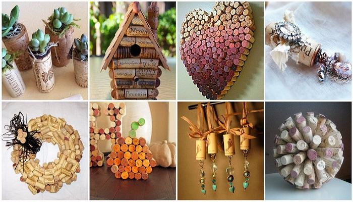 Несколько вариантов сувениров и декоративных украшений, сделанных из винных пробок.