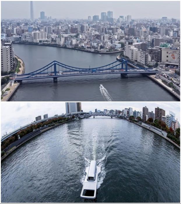 След, оставленный движением необычной яхты между двумя старинными провинциями, считают символичным («Корабль-молния», Япония). © Yasuhiro Suzuki.