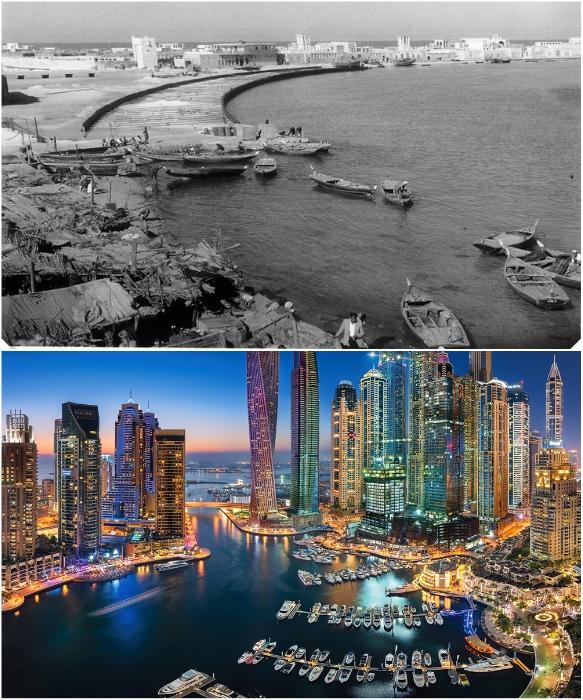 Плавсредства и городской пейзаж Дубаи 1960 и 2018 гг.| Фото: kartam47.livejournal.com/ shopudachi.ru.