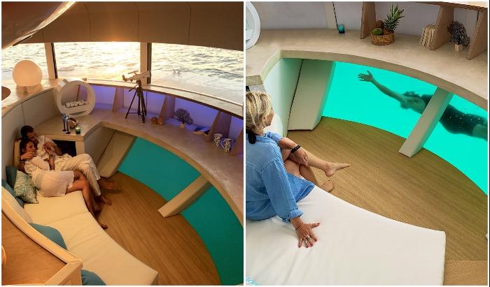 Нижняя часть каюты оснащена панорамным окном, благодаря которому можно любоваться подводным пейзажем («Anthenea»). | Фото: magazine.bellesdemeures.com.