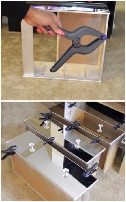 После установки зеркала зафиксировать специальными зажимами. | Фото: youtube.com.