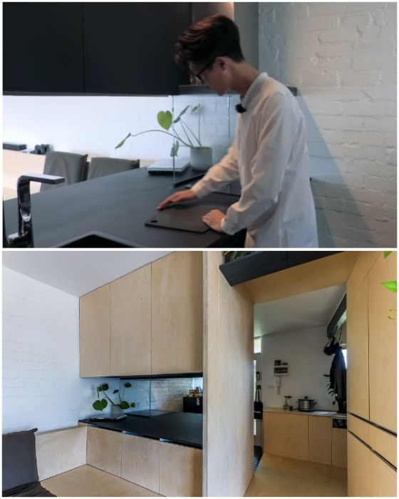 Мебельный модуль позволяет пользоваться шкафами и столешницей, как со стороны кухни, так и с гостиной. | Фото: youtube.com.