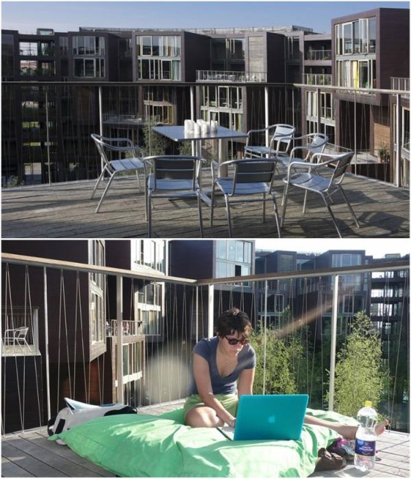 Из каждой кухни есть выход на открытую террасу, где можно, и поработать и прекрасно отдохнуть (Tietgenkollegiet, Копенгаген). | Фото: propertytimes.com.ua.